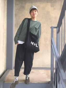 階段暮らしのウルカマラさんの「・HEAVY COTTON JUTE CANVAS BAG(MHL.)」を使ったコーディネート