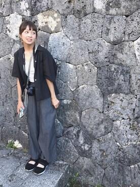 階段暮らしのウルカマラさんの「<AURALEE>オープンカラーシャツ Ψ(AURALEE)」を使ったコーディネート