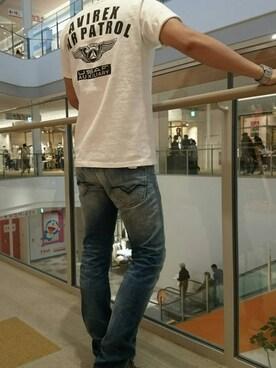 AVIREX 横浜 umestyle-KAGE流さんのTシャツ/カットソー「AVI-S/S C.A.P. OVER PRINT CREW NECK TEE(AVIREX アヴィレックス)」を使ったコーディネート