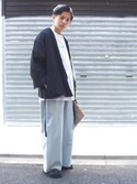 kento   fujiwaraさんの「ワイドデニムトラウザー(WHO'S WHO gallery|フーズフーギャラリー)」を使ったコーディネート