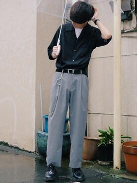 げんじさんの「パイピングオープンカラーシャツ(LIDnM|リドム)」を使ったコーディネート