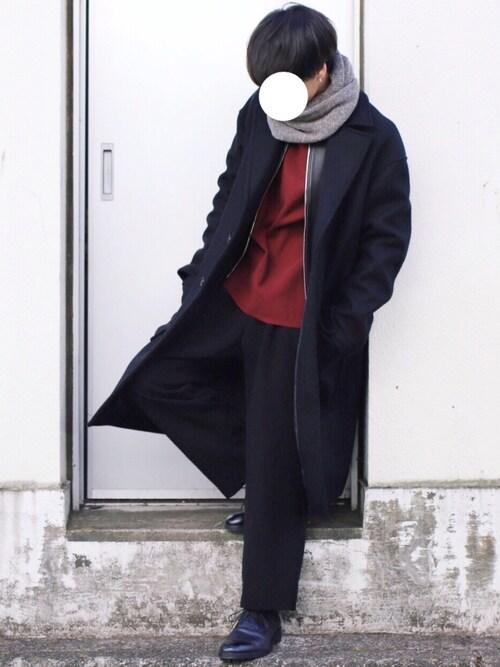 げんじ使用「LIDnM(ダブルサージメルトンオーバーコート)」的時尚穿搭