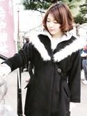 まりさまさんの「ウール混モッサファーショールフーデッドコート(mysty woman|ミスティウーマン)」を使ったコーディネート