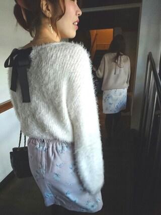 まりさまさんの「【雑誌掲載】起毛フラワー台形スカート(MAJESTIC LEGON|マジェスティックレゴン)」を使ったコーディネート