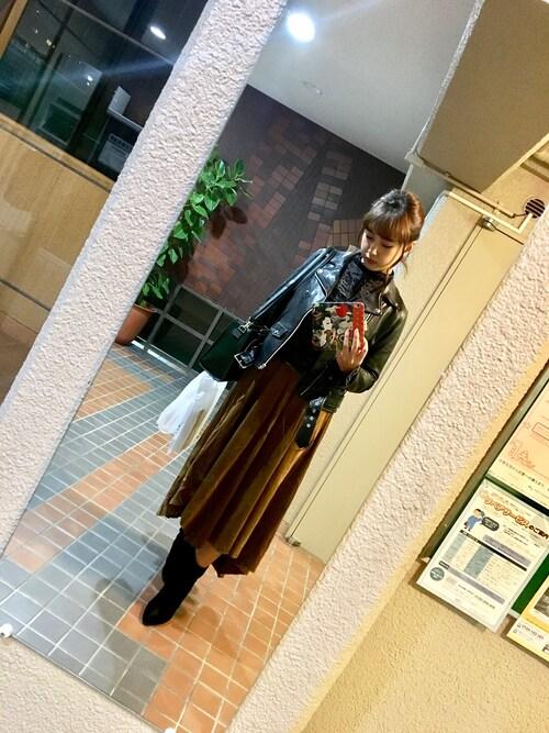 ponmakoさんの「別注<beautiful people> ライダースジャケット†(UNITED ARROWS)」を使ったコーディネート