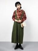 ambiさんの「BEAMS BOY / タータンチェック バスクシャツ(BEAMS BOY|ビームスボーイ)」を使ったコーディネート
