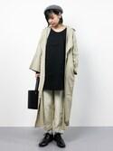 ambiさんの「トレンチ風ロングコート(antiqua|antiqua)」を使ったコーディネート
