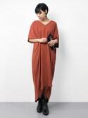 ambiさんの「コクーンサックドレス(TODAYFUL|トゥデイフル)」を使ったコーディネート