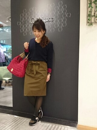 Qluxe なんば丸井店|yabuさんの「ペンシル リボンスカート(Q|キュー)」を使ったコーディネート