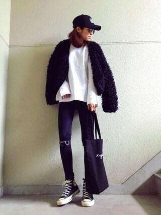 MAYUさんの「BASIC LONG SLIT TOP(X-girl|エックスガール)」を使ったコーディネート