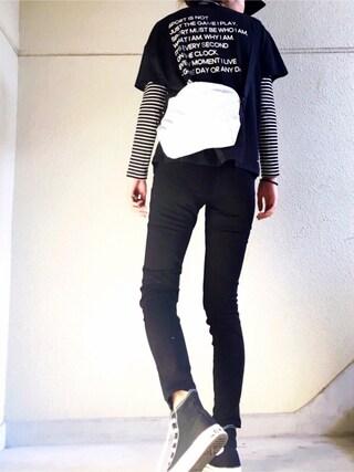 MAYUさんの「W ID マントラグラフィックS/STシャツ MSY(MOUSSY|マウジー)」を使ったコーディネート