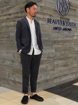 """BEAUTY&YOUTH UNITED ARROWS Yuta Okazakiさんのテーラードジャケット「BY """"TORAY"""" DRY/PE 2B ジャケット(BEAUTY&YOUTH UNITED ARROWS ビューティアンドユースユナイテッドアローズ)」を使ったコーディネート"""