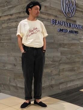 ユナイテッドアローズ 有楽町店|Yuta Okazakiさんのデニムパンツ「BY バルーン デニムパンツ -MADE IN JAPAN-(BEAUTY&YOUTH UNITED ARROWS|ビューティアンドユースユナイテッドアローズ)」を使ったコーディネート