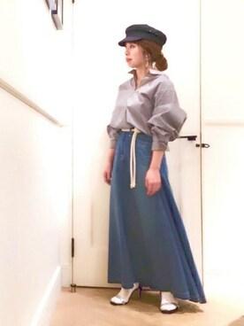 ROPE'/ROPE'mademoiselle marieさんの「【woad blue別注】ベルト付マキシデニムスカート(woadblue)」を使ったコーディネート