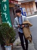 ikeshiさんの「【WEB限定】KBF ボーイッシュビッグコート(KBF|ケイビーエフ)」を使ったコーディネート