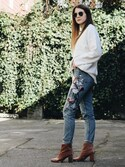 「Women's Topshop Mom Embroidered Jeans(Topshop)」 using this Mackenzie looks