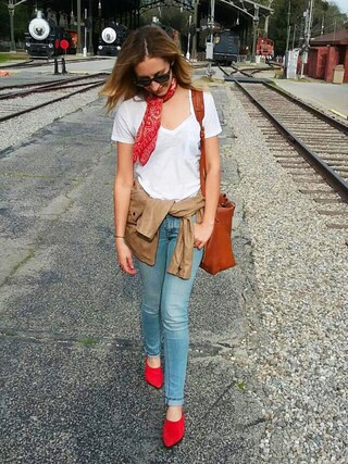「Madewell Leather Transport Satchel - Brown(Madewell)」 using this  Bard &  Paul  looks
