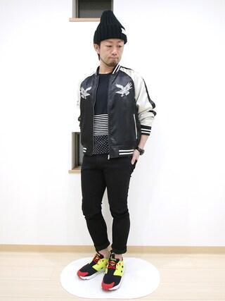 カトウトモタカさんの「M 刺繍スカジャン(SEVENDAYS=SUNDAY セブンデイズサンデイ)」を使ったコーディネート