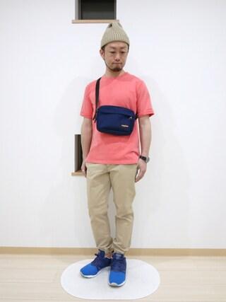 カトウトモタカさんの「ピグメントダイロールアップ半袖スウェット(coen コーエン)」を使ったコーディネート