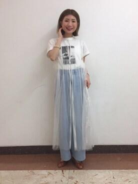 レイ ビームス 池袋|國吉麻由子さんの「【予約】RBS / チュール リボン ジレ(RBS)」を使ったコーディネート