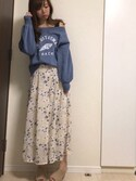 nana♡さんの「オフショル裏毛プルオーバー(PAGEBOY|ページボーイ)」を使ったコーディネート