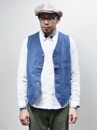 ロケットシップさんの「JAPAN BLUE JEANS(ジャパンブルージーンズ)  Stripe Vest インディゴストライプベスト(JAPAN BLUE JEANS|-)」を使ったコーディネート