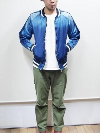 ロケットシップさんの「JAPAN BLUE JEANS(ジャパンブルージーンズ)  インディゴスカジャン スーベニアジャケット(JAPAN BLUE JEANS|-)」を使ったコーディネート