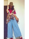まつさんの「WOMEN エクストラファインメリノVネックセーター(長袖)(ユニクロ|ユニクロ)」を使ったコーディネート