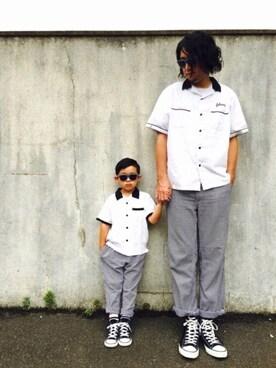 リトさんの「【キッズ】オープンカラーシャツ半袖/749059(GLOBAL WORK|グローバルワーク)」を使ったコーディネート