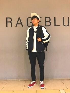 RAGEBLUEイオンモール浜松市野店|岡村さんのブルゾン「<2WAY仕様>リバーシブルスカジャン/745780(RAGEBLUE|レイジブルー)」を使ったコーディネート