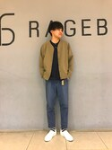 岡村さんの「【耐久撥水加工】DIAMAGICスリッポンスニーカー/745286(RAGEBLUE|レイジブルー)」を使ったコーディネート