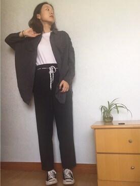 「テロテロ加工ワークシャツ【niko and ...】(niko and...)」 using this shiveringblur  looks
