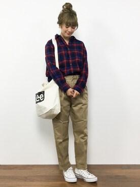ZOZOTOWN|piya*さんの「フランネルワイヤーシャツ長袖/756966(GLOBAL WORK)」を使ったコーディネート