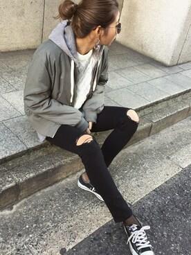 MURUA 福岡パルコ|草野春香さんの「Jet Blackクラッシュスキニーパンツ(MURUA)」を使ったコーディネート
