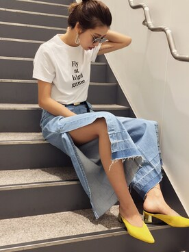 MURUA 福岡パルコ|草野春香さんの「スリットタックデニムワイドパンツ(MURUA)」を使ったコーディネート