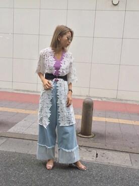 MURUA 福岡パルコ|草野春香さんの「レースノーカラーガウン(MURUA|ムルーア)」を使ったコーディネート