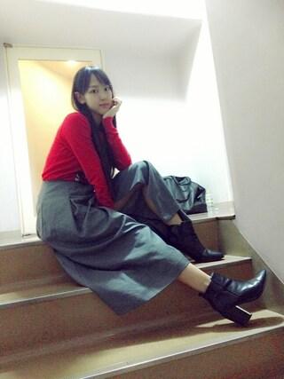 飯窪春菜さんの「【MODE】ラップデザインフレアロングSK(MURUA|ムルーア)」を使ったコーディネート