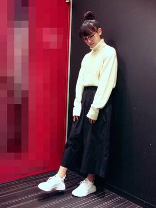飯窪春菜さんの「(GU)ケーブルタートルネックセーター(長袖)(GU|ジーユー)」を使ったコーディネート