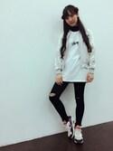 飯窪春菜さんの「【リバーシブルブルゾン】スカジャン×MA-1(reca|レカ)」を使ったコーディネート