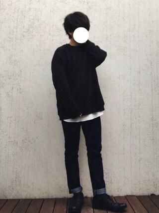 「【KARUTSUMUGI糸使用】ドロップショルダー裏毛スウェットクルー/746743(RAGEBLUE)」 using this サキティー looks