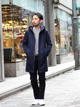 417 by EDIFICE渋谷店 JUN ITOHさんのその他アウター「◇シャンブレーツイルフードコート(EDIFICE エディフィス)」を使ったコーディネート