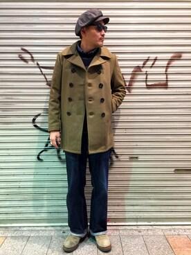 Schott Kobe|matsuuraさんの「Schott/ショット/753UST MELTON PEA COAT TALL/ピーコート トール(schott)」を使ったコーディネート