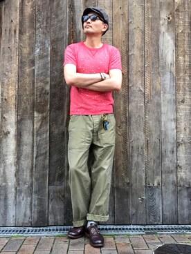 Schott South|matsuuraさんのTシャツ/カットソー「Schott/ショット/VINTAGE TSHIRT EAGLE/ビンテージ Tシャツ イーグル(schott|ショット)」を使ったコーディネート