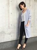 Yumiさんの「【大人気商品・再々入荷】スリットポケットニットロングカーディガン 《雑誌掲載》(Settimissimo|セッティミッシモ)」を使ったコーディネート