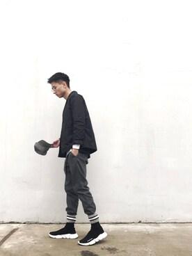 「Balenciaga Stretch-Mesh High-Top Sneaker, Noir(Balenciaga)」 using this 呛味PlayBoy looks