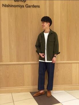 Bshop 西宮ガーデンズ店|Tanakaさんの「オープンカラーファティーグシャツ RMV MEN(Morris & Sons)」を使ったコーディネート