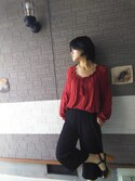 「EMBROIDERY BLOUSE(MOUSSY)」 using this 玉響 looks