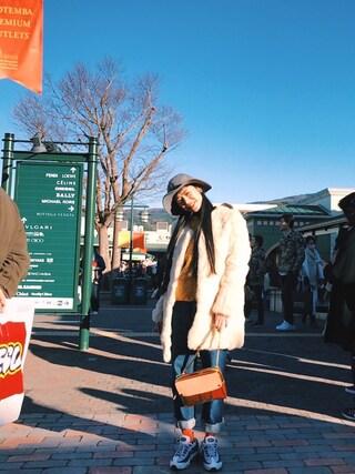 IZUMIさんの「【DouDou】ラビットファーノーカラーコート(DouDou|ドゥドゥ)」を使ったコーディネート