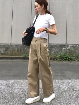 soliさんの「WOMEN リブクルーネックT(半袖)(ユニクロ)」を使ったコーディネート