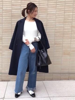 yu--kaさんの「ELAN W/PE GABA BIG コート(green label relaxing|グリーンレーベルリラクシング)」を使ったコーディネート